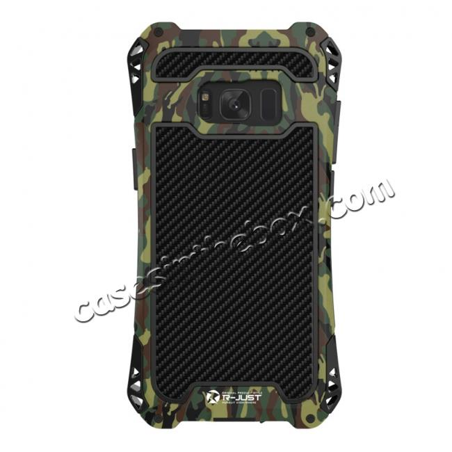 top quality R-just Powerful Anti-drop Shockproof Dirt Proof Metal Aluminum Cover Case for Samsung Galaxy S8+ Plus - Camouflage