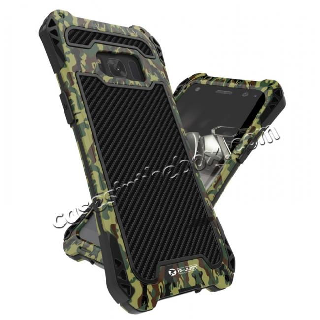 wholesale R-just Powerful Anti-drop Shockproof Dirt Proof Metal Aluminum Cover Case for Samsung Galaxy S8+ Plus - Camouflage