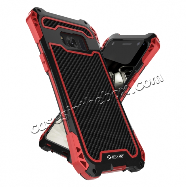 cheap R-just Powerful Anti-drop Shockproof Dirt Proof Metal Aluminum Cover Case for Samsung Galaxy S8+ Plus - Red&Black