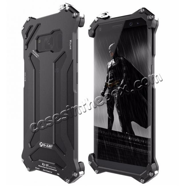 wholesale R-JUST Shockproof Dropproof Aluminum Metal Cover Case for Samsung Galaxy S8 S8 Plus Black