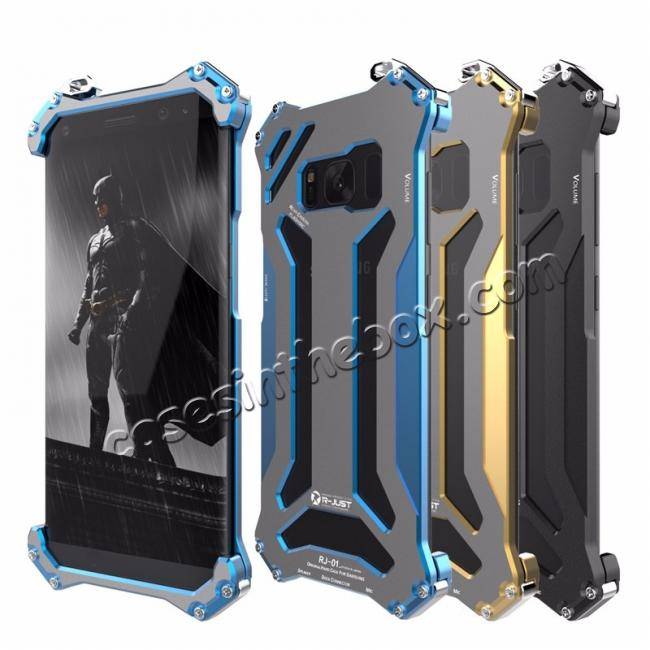 china wholesale R-JUST Shockproof Dropproof Aluminum Metal Protection Cover Case for Samsung Galaxy S8 5.8 Inch - Blue