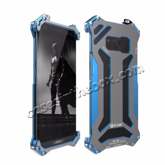 wholesale R-JUST Shockproof Dropproof Aluminum Metal Protection Cover Case for Samsung Galaxy S8 5.8 Inch - Blue