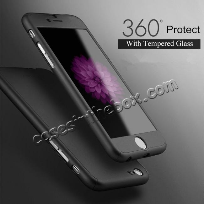 china wholesale 360° Protective Ultra Slim Hard Case Cover + Tempered Glass For iPhone 7 / 7 Plus / 6 / 6 Plus / 6s / 6S Plus