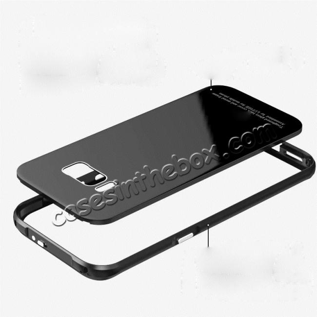 cheap Aluminium Frame+Tempered Glass Back Cover Case for Samsung Galaxy S8 + Plus - Black
