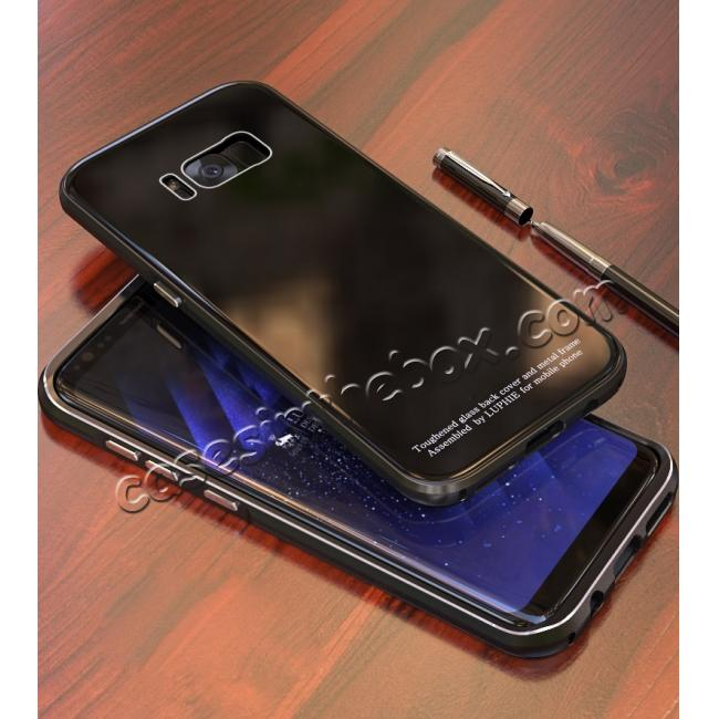 discount Aluminium Frame+Tempered Glass Back Cover Case for Samsung Galaxy S8 + Plus - Black