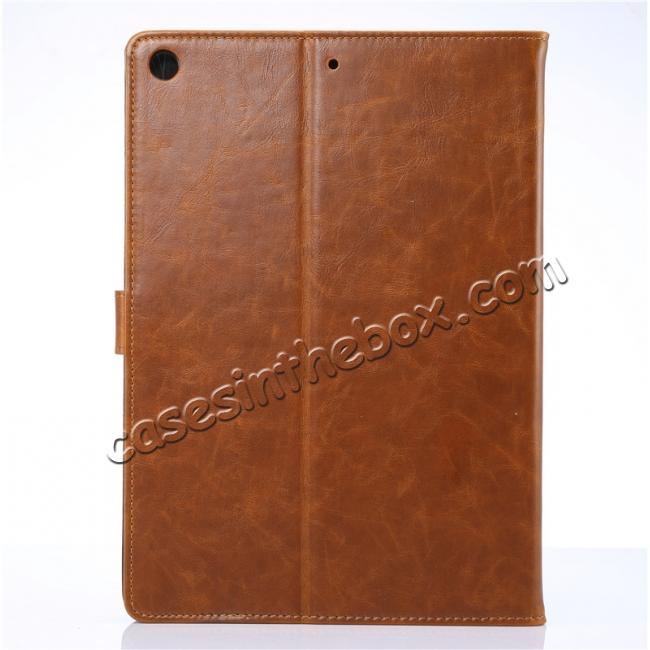 cheap Crazy Horse PU Leather Folio Case Magnetic Closure Smart Cover With Stand For New iPad 9.7 2017 - Brown