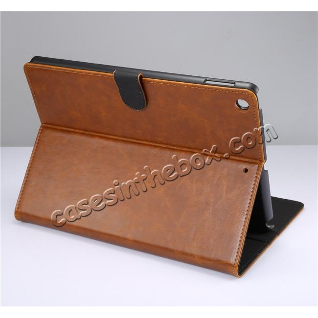 wholesale Crazy Horse PU Leather Folio Case Magnetic Closure Smart Cover With Stand For New iPad 9.7 2017 - Brown