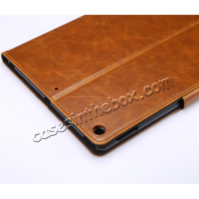 on sale Crazy Horse PU Leather Folio Case Magnetic Closure Smart Cover With Stand For New iPad 9.7 2017 - Brown