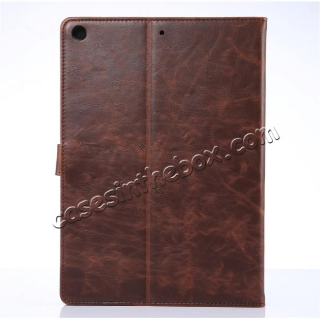 cheap Crazy Horse PU Leather Folio Case Magnetic Closure Smart Cover With Stand For New iPad 9.7 2017 - Coffee
