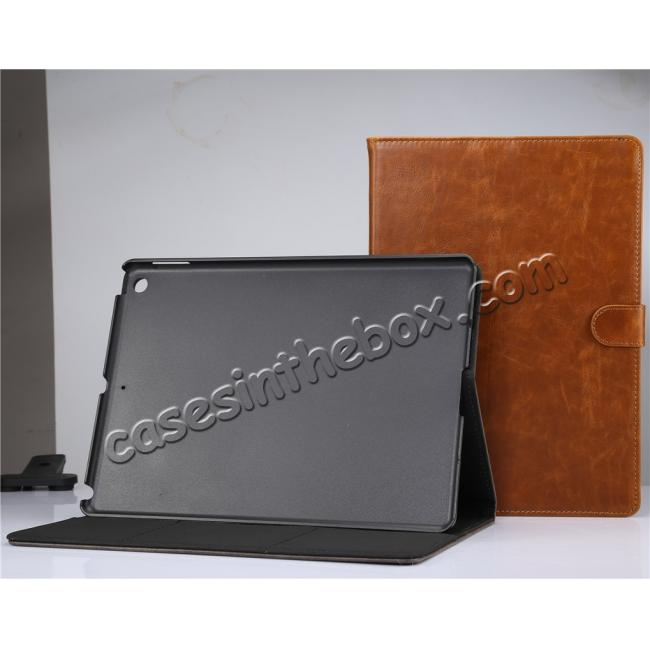 best price Crazy Horse PU Leather Folio Case Magnetic Closure Smart Cover With Stand For New iPad 9.7 2017 - Coffee