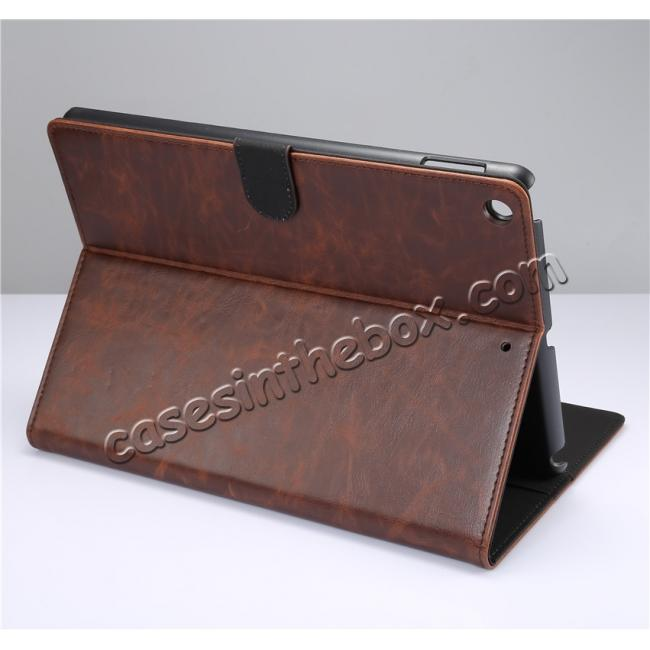 wholesale Crazy Horse PU Leather Folio Case Magnetic Closure Smart Cover With Stand For New iPad 9.7 2017 - Coffee