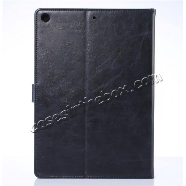 cheap Crazy Horse PU Leather Folio Case Magnetic Closure Smart Cover With Stand For New iPad 9.7 2017 - Dark Blue