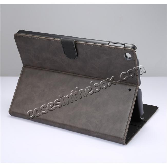wholesale Crazy Horse PU Leather Folio Case Magnetic Closure Smart Cover With Stand For New iPad 9.7 2017 - Grey