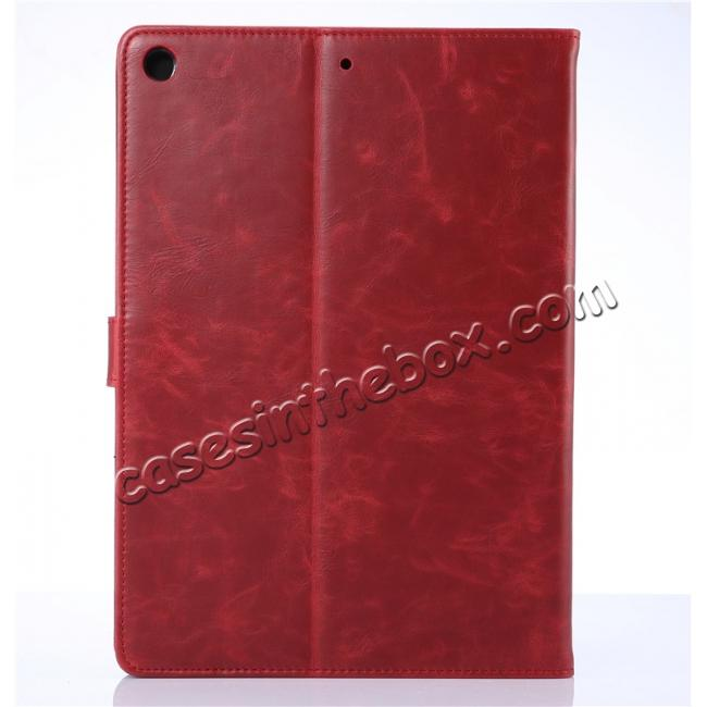 cheap Crazy Horse PU Leather Folio Case Magnetic Closure Smart Cover With Stand For New iPad 9.7 2017 - Wine Red