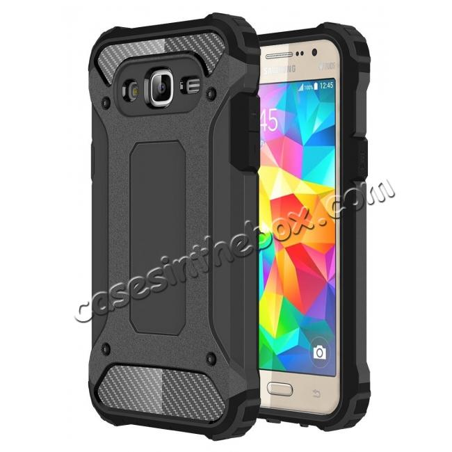 wholesale Dual Layer Shockproof Armor Case Cover for Samsung Galaxy J2 Prime - Black