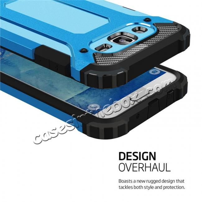 cheap Dual Layer Shockproof Armor Case Cover for Samsung Galaxy J2 Prime - Blue