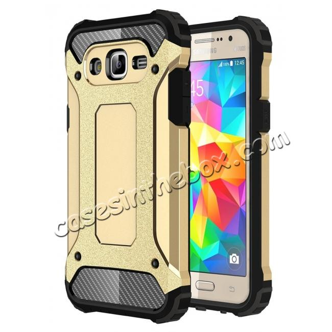 wholesale Dual Layer Shockproof Armor Case Cover for Samsung Galaxy J2 Prime - Gold
