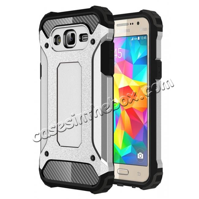 wholesale Dual Layer Shockproof Armor Case Cover for Samsung Galaxy J2 Prime - Silver