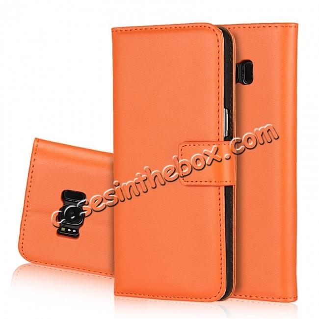 galaxy s8 plus wallet case,wholesale Genuine Leather Card Holder Wallet Flip Stand Cover Case For Samsung Galaxy S8+ Plus - Orange