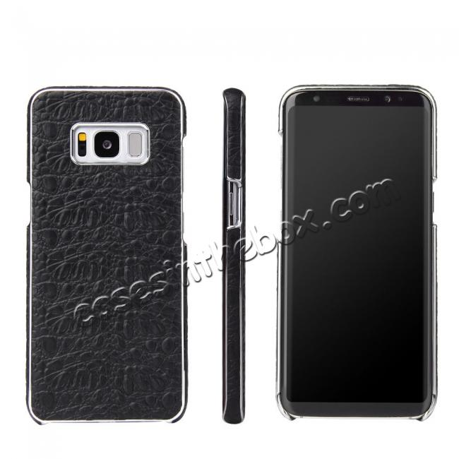cool galaxy s8 leather cases,wholesale Genuine Leather Crocodile Grain Back Cover Case For Samsung Galaxy S8 - Black