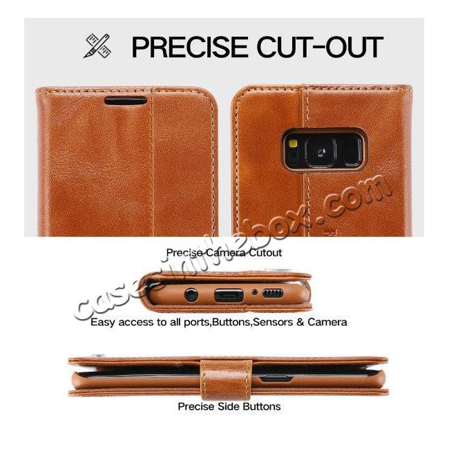discount Genuine Leather Wallet Case Credit Card Protector for Samsung Galaxy S8+ Plus - Brown