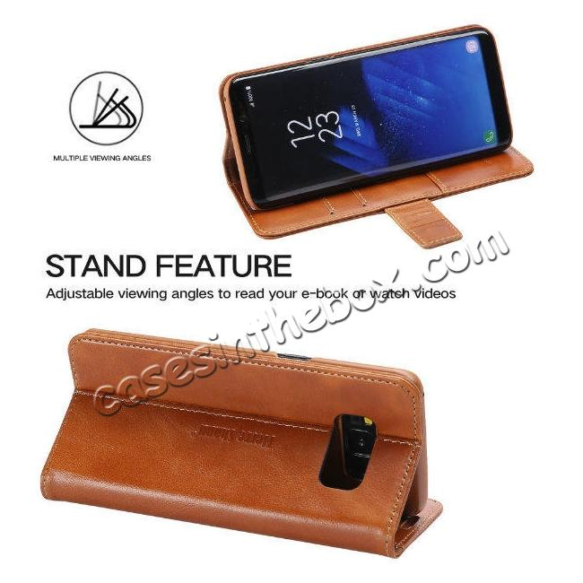 cheap Genuine Leather Wallet Case Credit Card Protector for Samsung Galaxy S8+ Plus - Brown