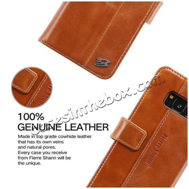 best price Genuine Leather Wallet Case Credit Card Protector for Samsung Galaxy S8+ Plus - Brown