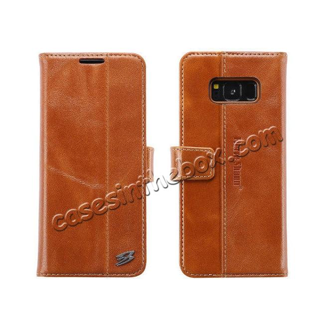 wholesale Genuine Leather Wallet Case Credit Card Protector for Samsung Galaxy S8+ Plus - Brown