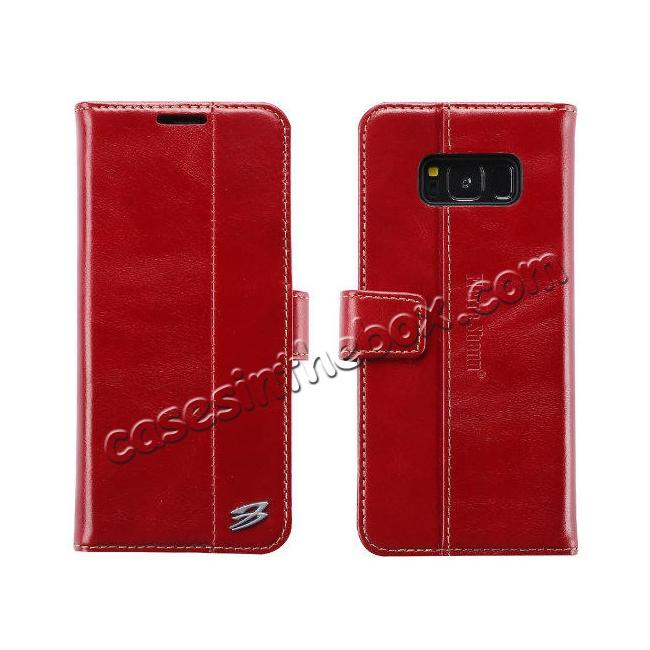 wholesale Genuine Leather Wallet Case Credit Card Protector for Samsung Galaxy S8+ Plus - Red