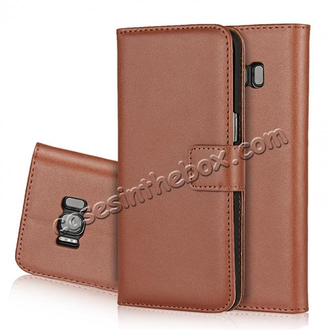 wholesale Genuine Leather Wallet Flip Cover Case Card Holder for Samsung Galaxy S8 - Brown