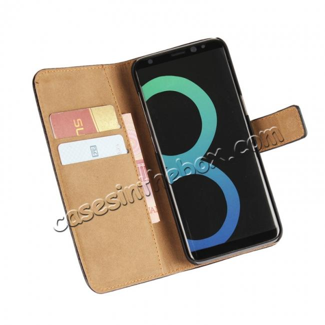 discount Genuine Leather Wallet Flip Cover Case Card Holder for Samsung Galaxy S8 - Brown
