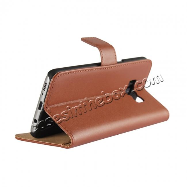 top quality Genuine Leather Wallet Flip Cover Case Card Holder for Samsung Galaxy S8 - Brown