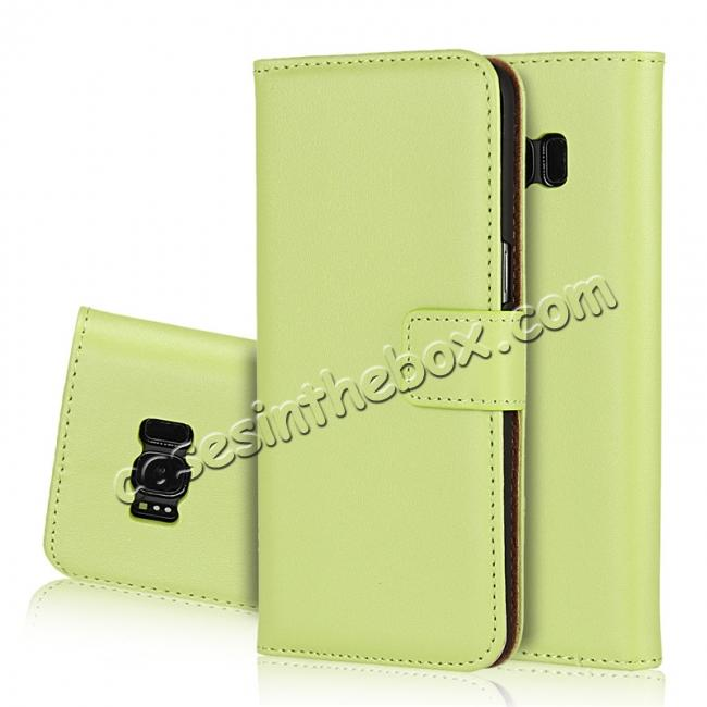 wholesale Genuine Leather Wallet Flip Cover Case Card Holder for Samsung Galaxy S8 - Green