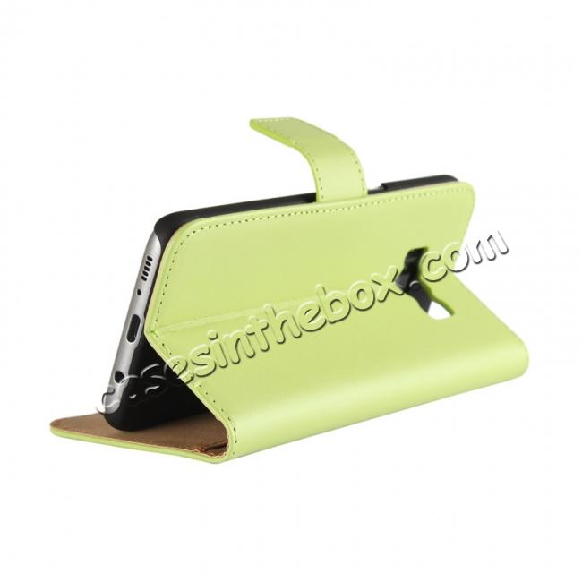 on sale Genuine Leather Wallet Flip Cover Case Card Holder for Samsung Galaxy S8 - Green