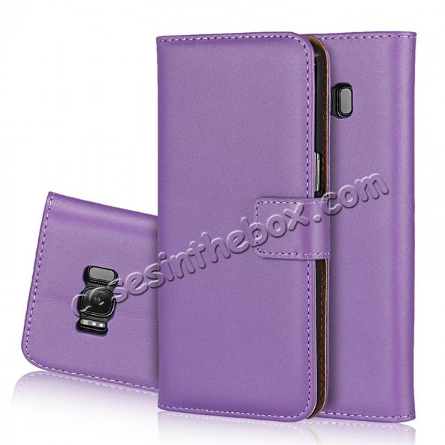 wholesale Genuine Leather Wallet Flip Cover Case Card Holder for Samsung Galaxy S8 - Purple