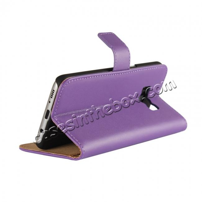 top quality Genuine Leather Wallet Flip Cover Case Card Holder for Samsung Galaxy S8 - Purple