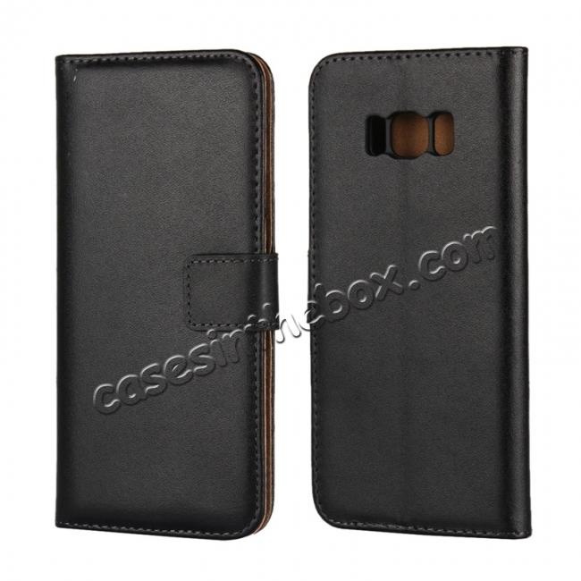 wholesale Genuine Leather Wallet Flip Cover Case Card Holder for Samsung Galaxy S8 - Black