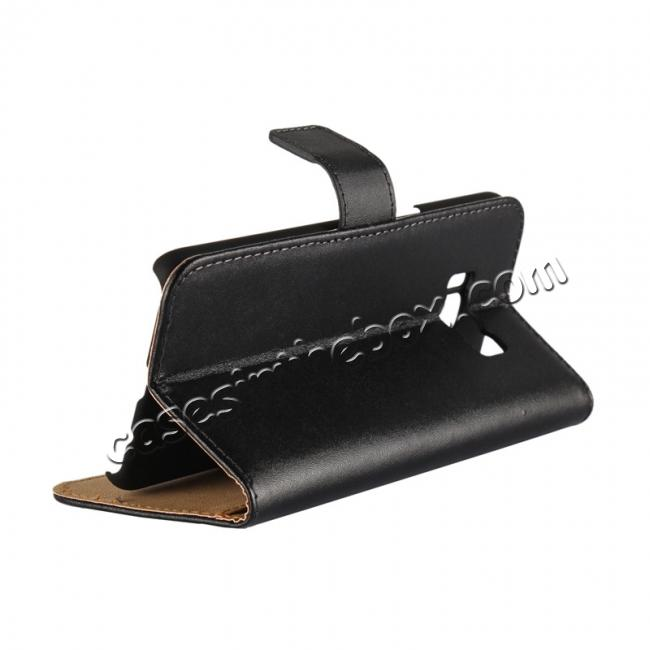 cheap Genuine Leather Wallet Flip Cover Case Card Holder for Samsung Galaxy S8 - Black