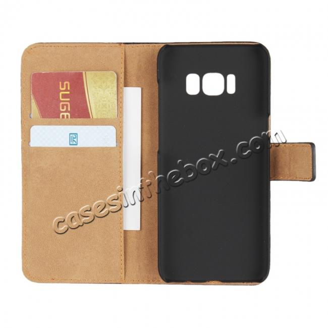 top quality Genuine Leather Wallet Flip Cover Case Card Holder for Samsung Galaxy S8 - Black