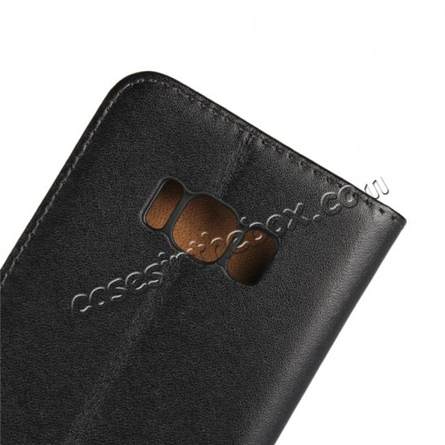 on sale Genuine Leather Wallet Flip Cover Case Card Holder for Samsung Galaxy S8 - Black