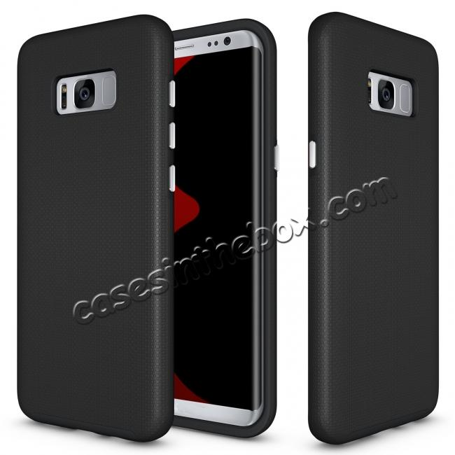 galaxy s8 cases covers,wholesale Hard/TPU Hybrid Dual Layer Shockproof Anti-Slip Armor Case Cover for Samsung Galaxy S8 - Black