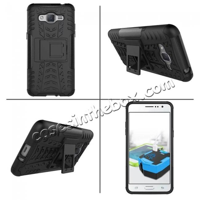 discount Hybrid TPU Hard Shockproof Cover Case Kickstand for Samsung Galaxy J2 Prime - Black