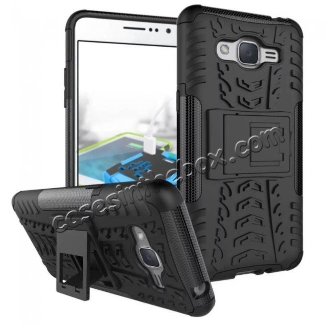 wholesale Hybrid TPU Hard Shockproof Cover Case Kickstand for Samsung Galaxy J2 Prime - Black