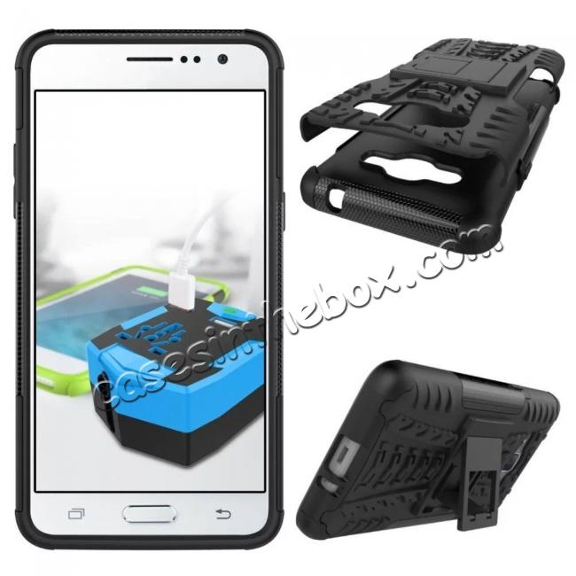 cheap Hybrid TPU Hard Shockproof Cover Case Kickstand for Samsung Galaxy J2 Prime - Black