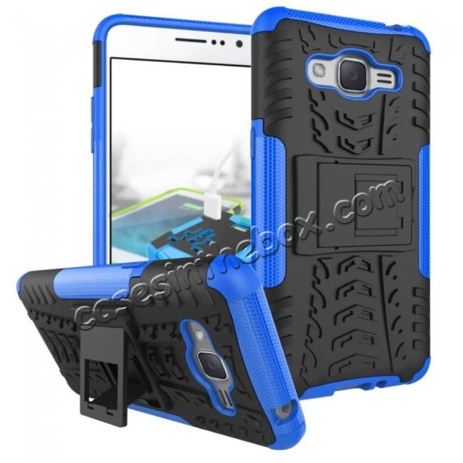 wholesale Hybrid TPU Hard Shockproof Cover Case Kickstand for Samsung Galaxy J2 Prime - Blue