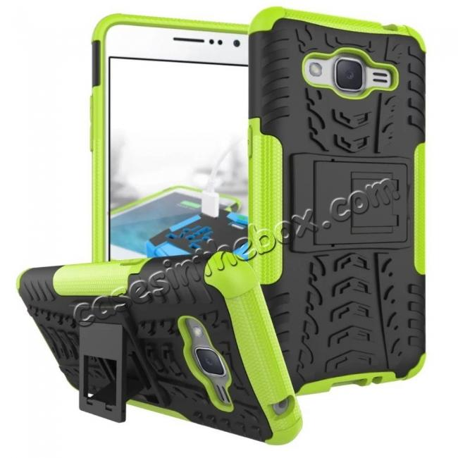 wholesale Hybrid TPU Hard Shockproof Cover Case Kickstand for Samsung Galaxy J2 Prime - Green