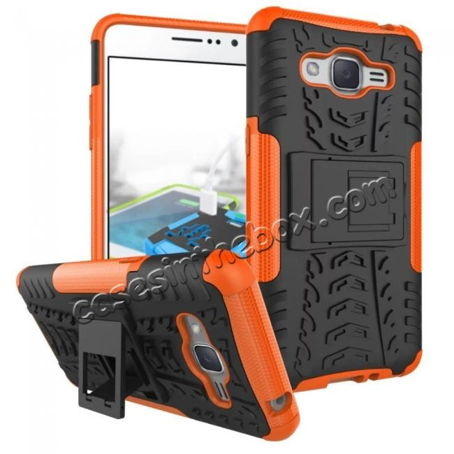 wholesale Hybrid TPU Hard Shockproof Cover Case Kickstand for Samsung Galaxy J2 Prime - Orange