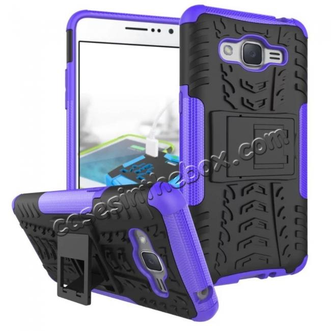 wholesale Hybrid TPU Hard Shockproof Cover Case Kickstand for Samsung Galaxy J2 Prime - Purple