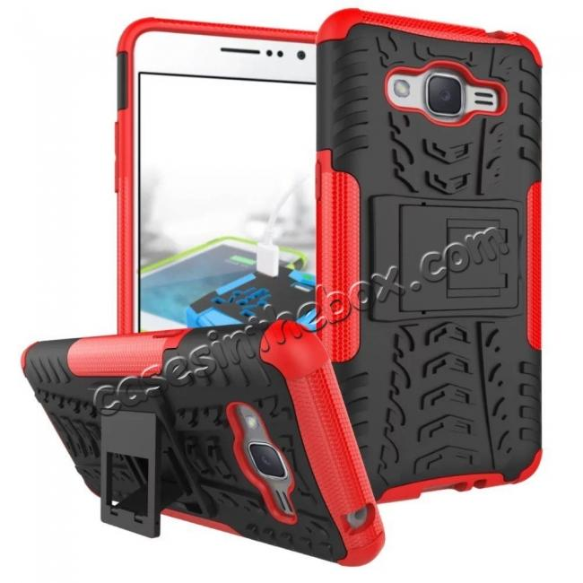 wholesale Hybrid TPU Hard Shockproof Cover Case Kickstand for Samsung Galaxy J2 Prime - Red