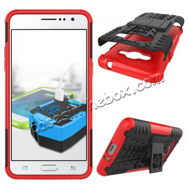 discount Hybrid TPU Hard Shockproof Cover Case Kickstand for Samsung Galaxy J2 Prime - Red